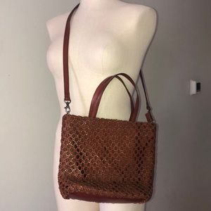 Fossil Leather Woven Crossbody Tote Bag